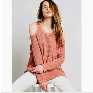 Free People Cold Shoulder Coral Knit Sweater
